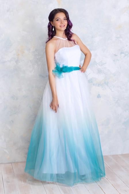 Платье в пол с корсетным верхом и градиентом