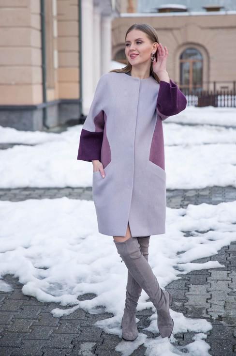 Пальто трехцветное с рукавом