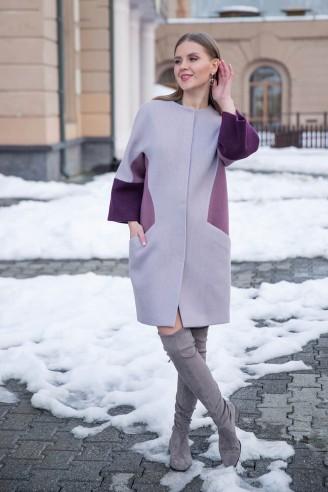 """Пальто трехцветное с рукавом """"летучая мышь"""""""