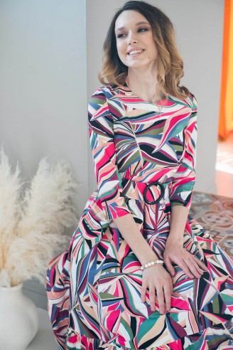Хлопковое платье-миди с воланом и поясом