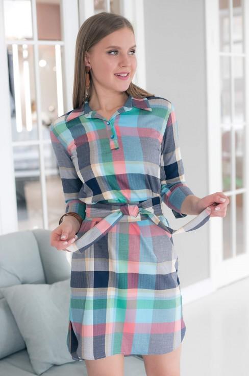 Платье-рубашка длины мини с поясом
