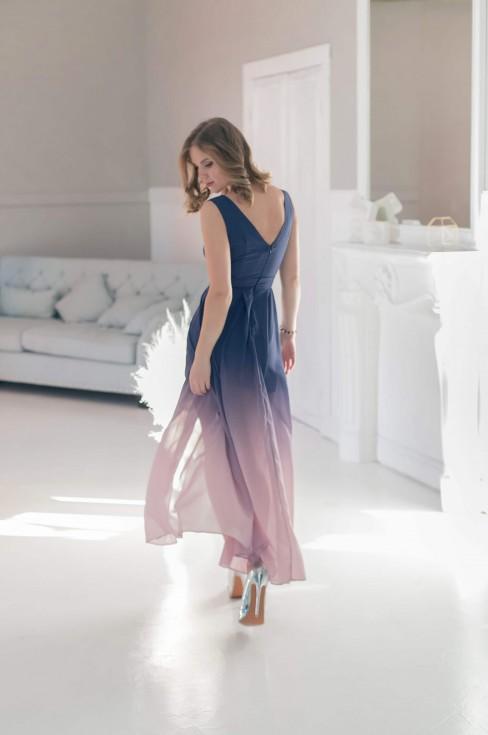 Платье в пол с градиентом