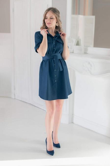 Джинсовое платье-рубашка с поясом