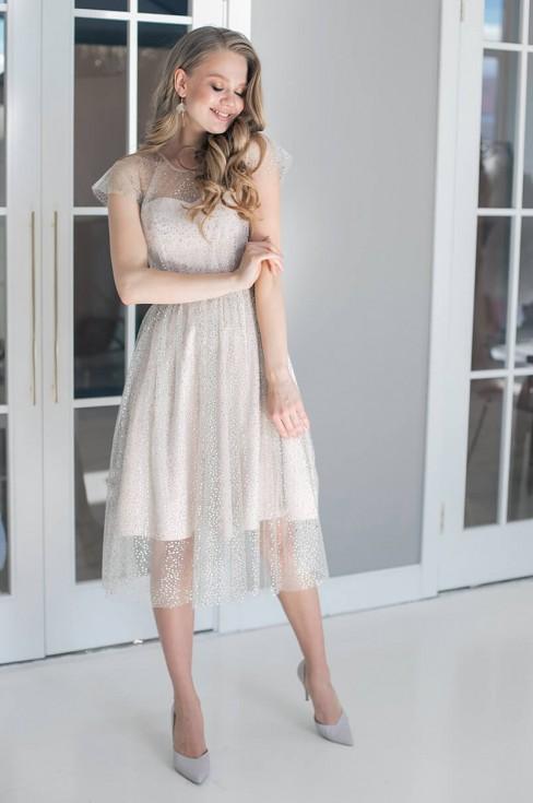Платье-миди со стразами без рукавов