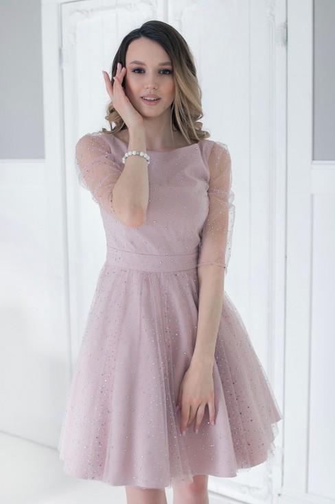 Платье-мини в стразах с пышной юбкой