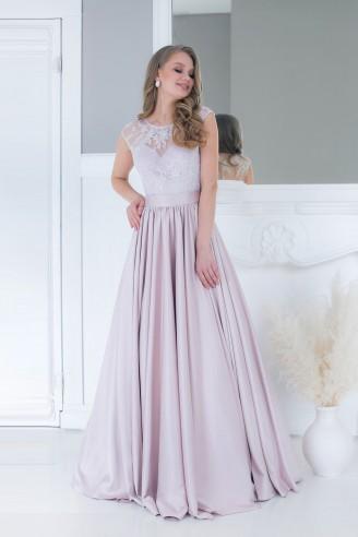 Платье в пол с вышивкой на лифе
