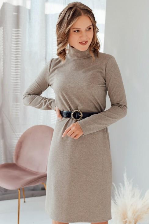 Прямое платье с длинными рукавами и поясом