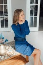 Вязаное платье-свитер c поясом