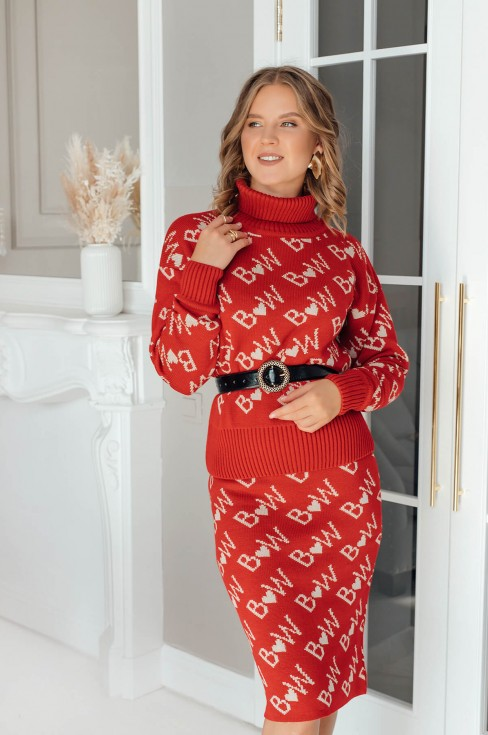 Вязаный костюм из юбки и свитера Brandwomen