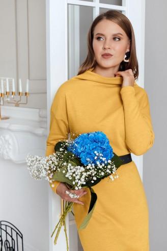 Трикотажное платье-мини с длинными рукавами