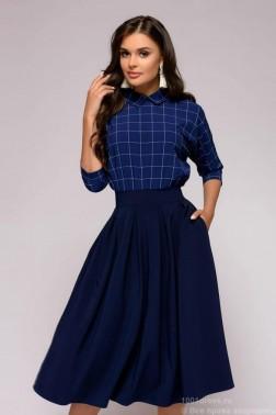 Синее платье с клетчатым верхом