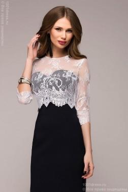 Темно-синее платье-футляр с белым кружевным верхом