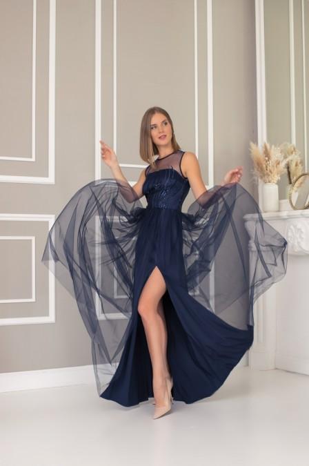Платье в пол с разрезом на фатиновой юбке
