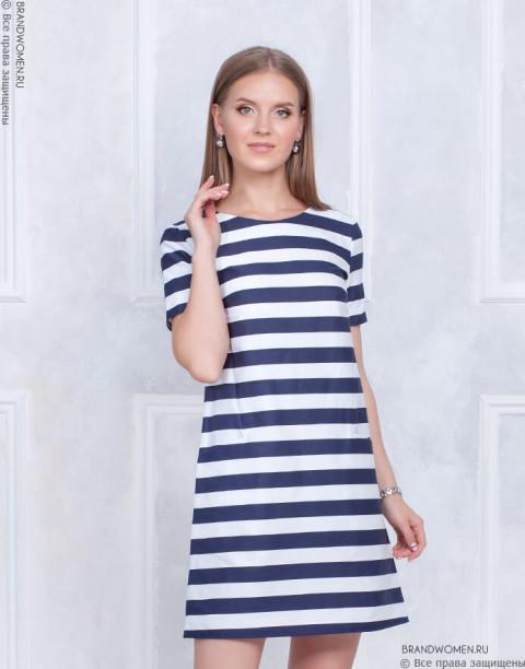 Платье-трапеция в полоску с карманами