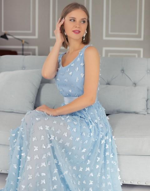 Двухслойное платье-макси из фактурной ткани