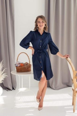 Хлопковое платье-мини на пуговицах с поясом